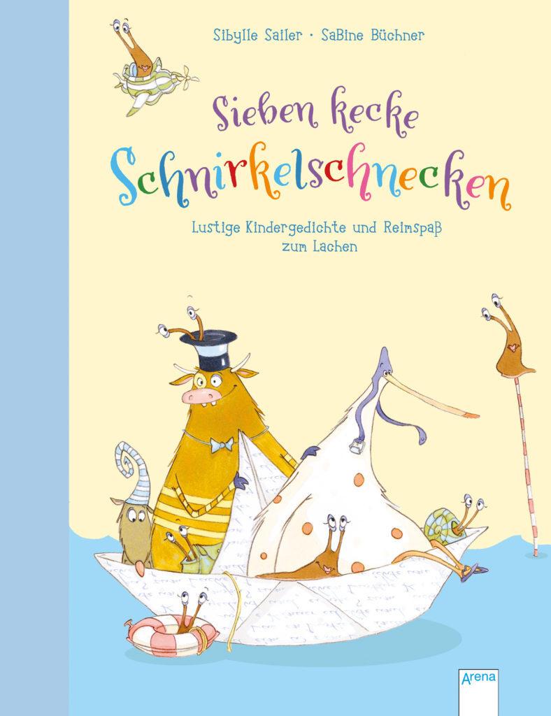 """Buchcover """"Sieben kecke Schnirkelschnecken"""". Lustige Illustration mit Fantasitieren auf einem Papierboot"""