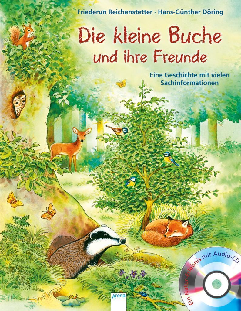 """Buchcover """"Die kleine Buche und ihre Freunde"""" Gezeichnete Illustration mit kleiner Buche, Dachs, Fuchs, Reh, Eichhörnchen, Blaumeisen und weiteren Bäumen"""